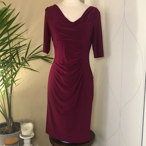 NWT Ralph Lauren quarter sleeve w ruching dress